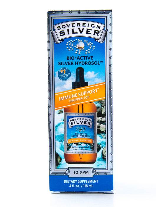 Sovereign Silver - Bio-Active Silver Hydrosol Dropper-Top - 10 ppm - 4 fl oz - Immune Support - Supplement - Hardin's Natural Foods