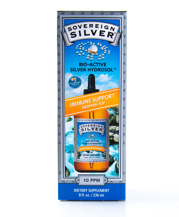 Sovereign Silver - Bio-Active Silver Hydrosol Dropper-Top - 10 ppm - 8 fl oz - Immune Support - Supplement - Hardin's Natural Foods