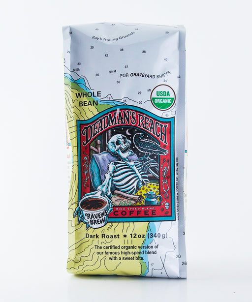 Raven's Brew Organic Deadman's Reach Coffee - Whole Bean - 12 oz bag - Tea - Hardin's Natural Foods