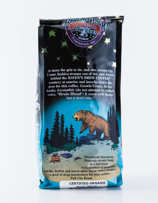 Raven's Brew Organic Bruin Blend Coffee - Whole Bean - 12 oz bag - Tea - Hardin's Natural Foods