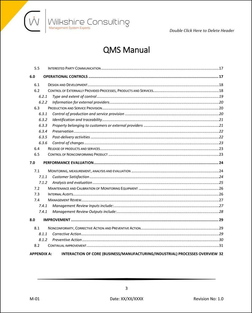 ISO 9001:2015 Quality Management System Documentation Template Package