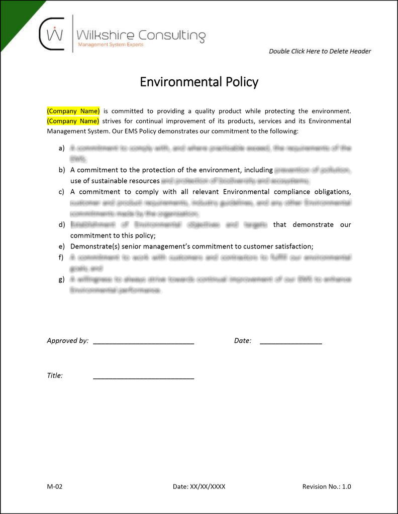 iso 140012015 environmental management system documentation template package