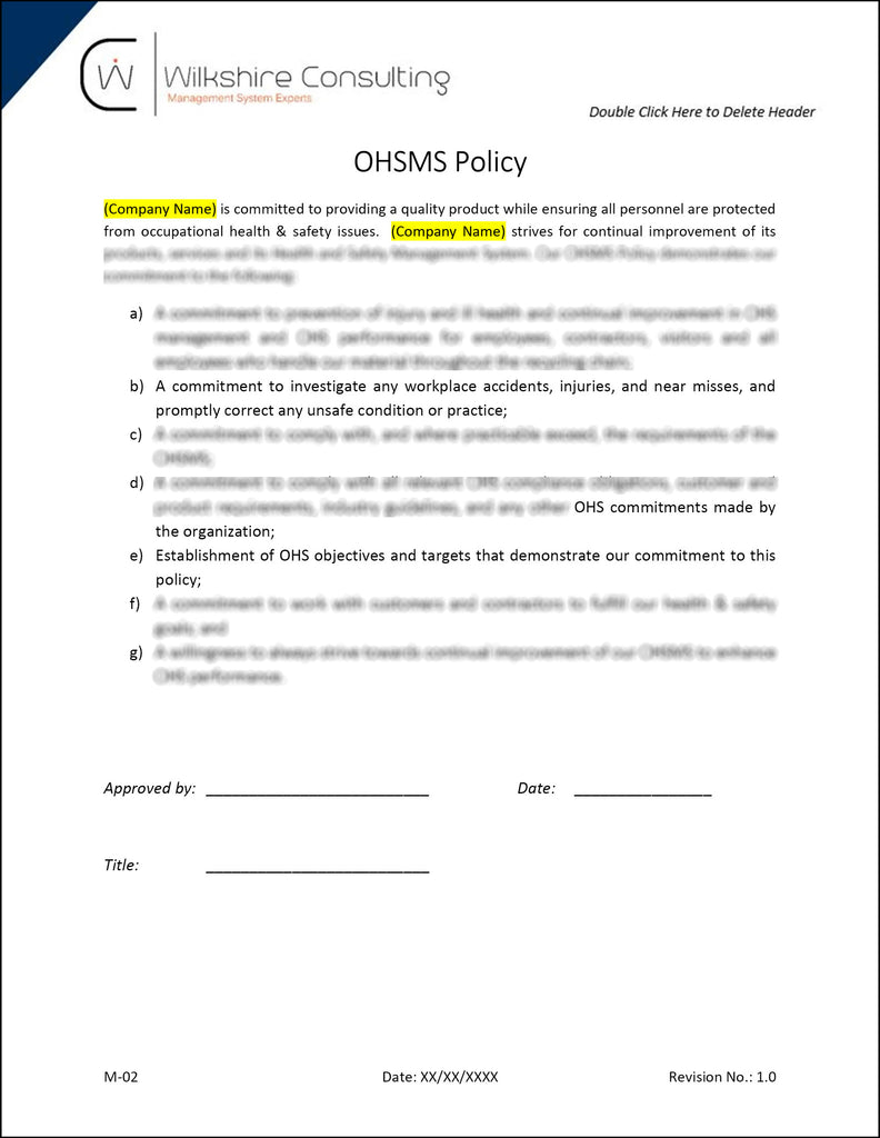 ohsas 180012007 occupational health and safety documentation template package