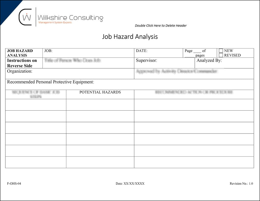 Ohsas  Occupational Health And Safety Documentation Template Package