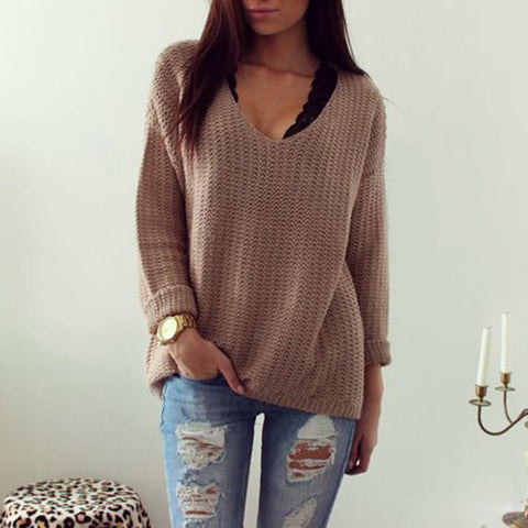 V Neck Casual Pullover