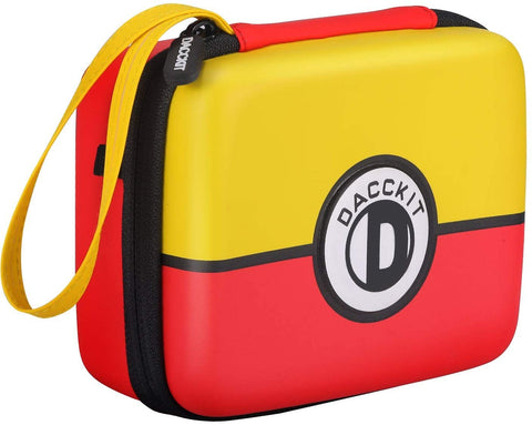 DACCKIT Carrying Case for Pokemon Trading Cards, Fits Up to 400 Cards, Card Holder with Hand Strap & Carabiner(Red and Yellow)