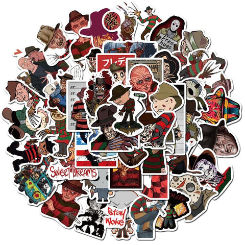 50 Pieces Freddy & Horror characters Stickers
