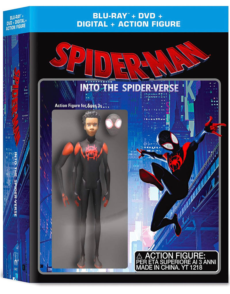Marvel SpiderMan Into the Spider-Verse (Blu-Ray + DVD + Action Figurine