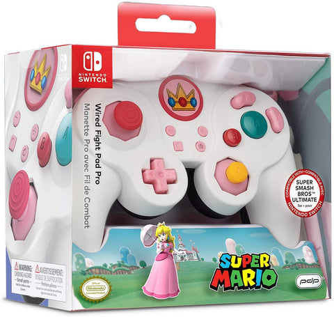 Nintendo Switch Super Mario Bros Princess Peach GameCube Style Wired Fight Pad Pro Controller