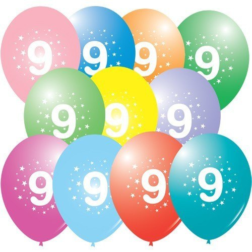 10 Inch 9th Birthday Mixed Latex Balloons (Pack of 100)