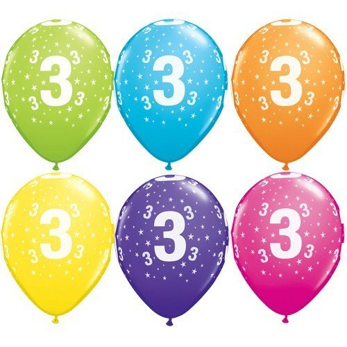 11 Inch Number 3 Stars Tropical Assortment Latex Balloons (Pack of 25)