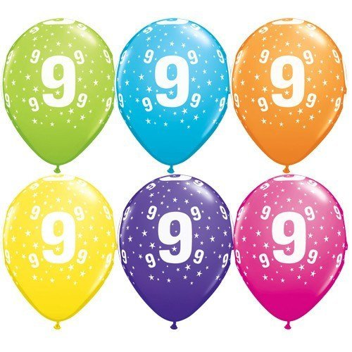 11 Inch Number 9 Stars Tropical Assortment Latex Balloons (Pack of 50)