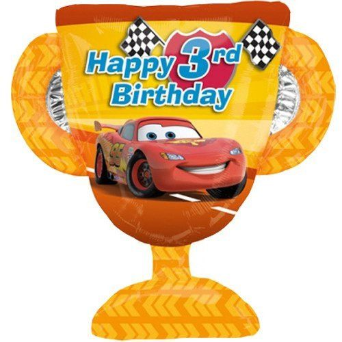 26 Inch Cars Trophy 3rd Birthday Foil Balloon