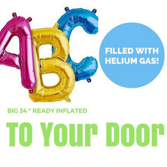 "34"" Big Letter Balloon (Ready Inflated With Helium Gas)"