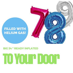 "34"" Big Number Balloon (Ready Inflated With Helium Gas)"