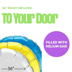 36 Inch Round Foil Balloon (Ready Inflated With Helium Gas)