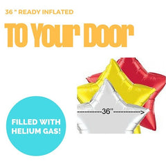 36 Inch Star Foil Balloon (Ready Inflated With Helium Gas)