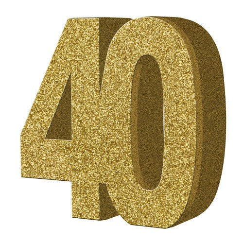 Gold Glitter Number Table Decoration for Age 40