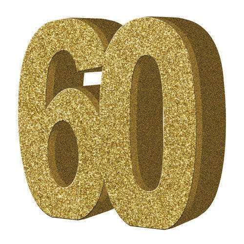 Gold Glitter Number Table Decoration for Age 60