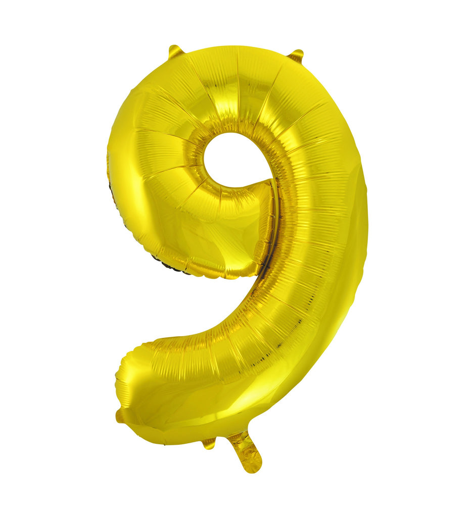 "Big 34"" (86cm) Number Foil Balloon - 9 In Gold"