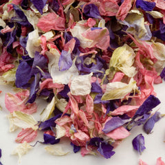 Delphinium Confetti Petals Biodegradable Natural Wedding Mixed Colour