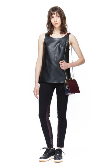 SC8101 Leather Tank Top w Peplum back