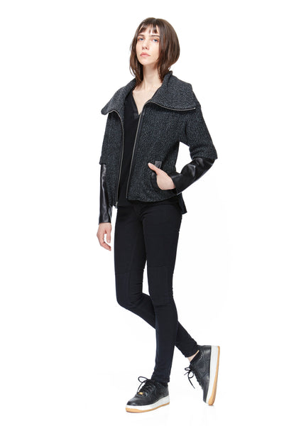 SC8034 Sweater Leather Sleeve Jacket