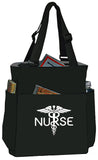 Black & Charcoal Nurse Bag Quad Access Shoulder Tote Handbag - Great Gifts For Nurses