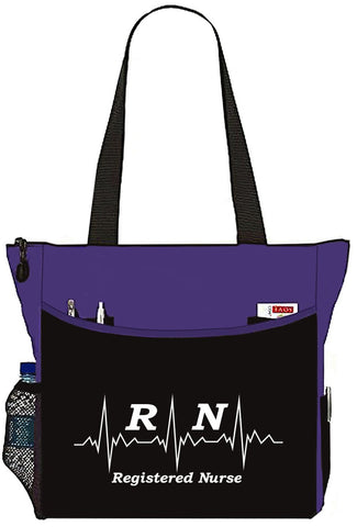 RN Registered Nurse EKG Tote Bag Office School Travel Business Personal Organizer - Purple Black