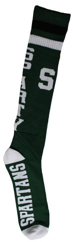 Men's Michigan State Spartans NCAA Green Knee High Tube Socks