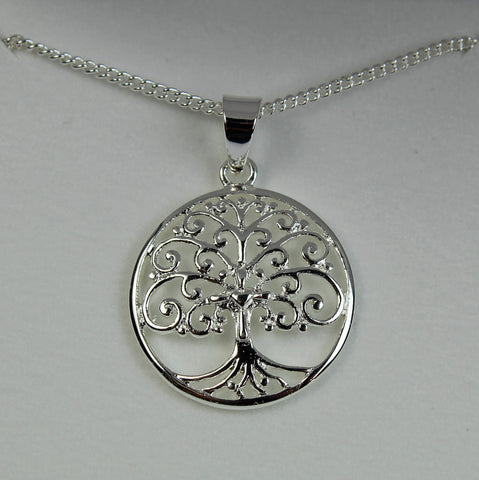 Tree of Life Round Pendant Silver Plated 18 Inch Necklace - The Nurse Place - 1