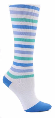 Nurse Mates Blue Purple Teal Stripes Womens Compression Socks For Nurses Size 9-11