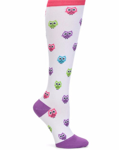 Nurse Mates Owl Women's White Compression Socks For Nurses Size 9-11