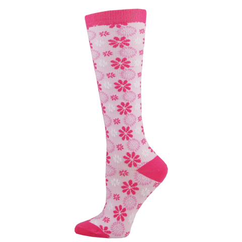 Think Medical Pink Tonal Flowers Womens Compression Socks for Nurses