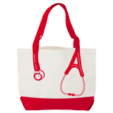 Think Medical Nurse Bag Canvas Stethoscope Red Print Tote Handbag - Great Gifts For Nurses