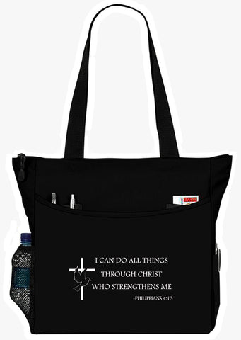 Philippians 4:13 I Can Do All Things Christian Bible Cover Tote Bag - The Nurse Place - 6