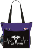 ER Nurse EKG Line Trauma Tote Bag Office School Travel Business Personal Organizer - Purple Black