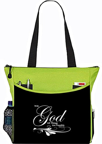Matthew 19:26 With God All things Are Possible Lime Bible Cover Tote Bag