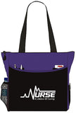 Nurse EKG A Lifeline Of Caring Tote Bag Office School Travel Business Personal Organizer - Purple Black
