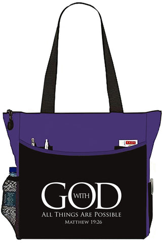 Matthew 19:26 With God All Things Are Possible Black/Purple Bible Cover Tote Bag