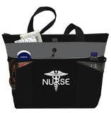 Nurse Caduceus Large Shoulder Tote Bag Handbag Personal Organizer - Black Charcoal - The Nurse Place