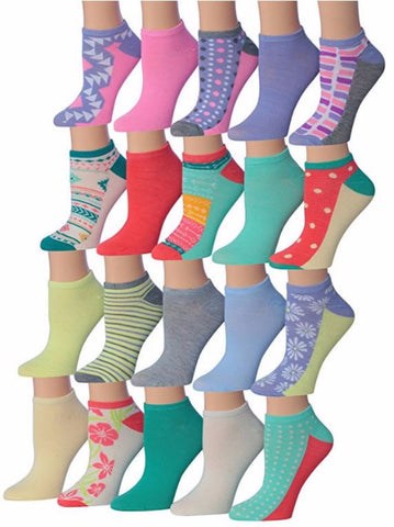 Tipi Toe Purple Pastel Women's Low Cut / No Show Socks 20 Pairs Size 9-11