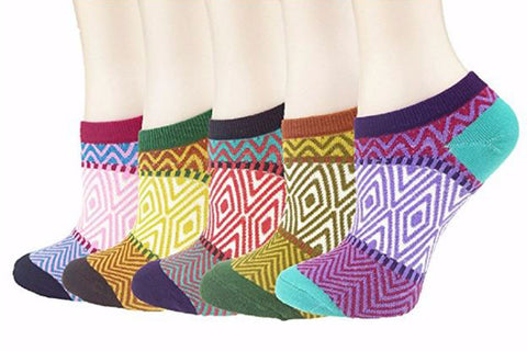 Zmart Paisley Retro Patterned Color Women's Low Cut / No Show Socks 6 Pairs Size 9-11