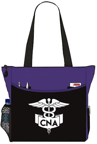 Purple Nurse Bag with CNA Banner Caduceus Tote Handbag - Great Gifts For Nurses