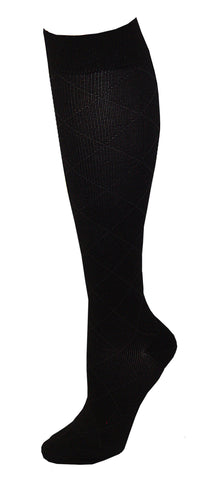 Dr. Motion Womens Compression Knee Socks Black Diamond Pattern Size 9-11 - The Nurse Place