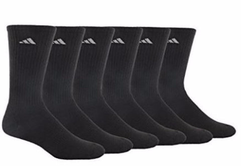 Adidas Men's 6-Pack Black Athletic Crew Socks Fits Size 6-12