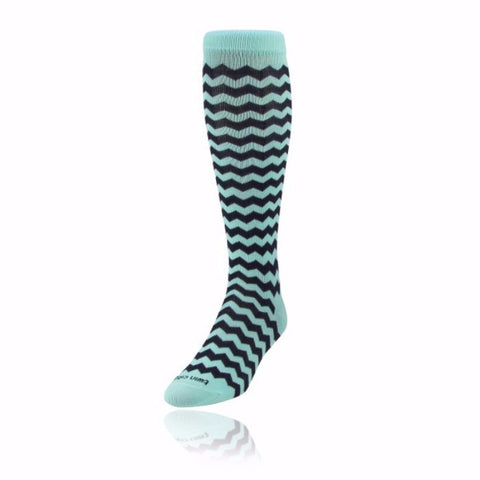 Women's KraziSox Chevron Mint/Navy Over-Calf Socks