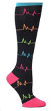 Nurse Mates Black EKG Stripes Womens Compression Socks For Nurses Size 9-11