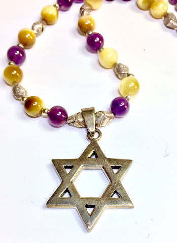 "18.5"" Israeli Jewish Star Necklace, unisex, Origami Sterling Beads, Tiger's Eye, Amethyst,"