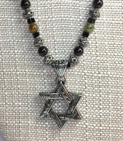 "18.5"" Men's Jewish Star Necklace, Father's Day, Garnet, Sterling Silver, Obsidian, Onyx"